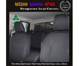 Nissan Navara NP300 TAILOR-MADE Seat Covers (NEW: 2017 model available) - FRONT PAIR 100% Perfect fit, Charcoal black, 100% Waterproof Premium quality Neoprene (Wetsuit), UV Treated