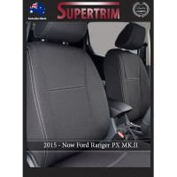Ford Ranger PX MK.II, III(Sept 2015 - Now) FRONT Full-Back Seat Covers with Map Pockets, Snug Fit, Premium Neoprene (Automotive-Grade) 100% Waterproof