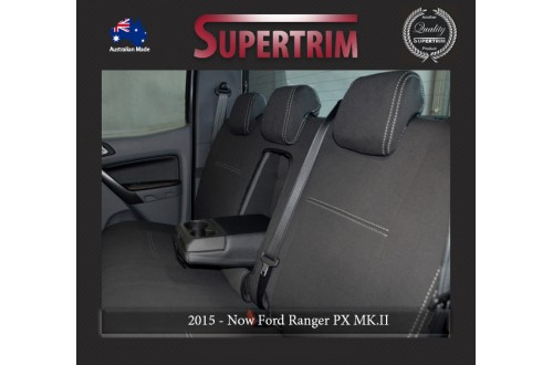Ford Ranger PX MK.II (Sept 2015 - Now) REAR Dual Cab Seat Covers + Armrest Access, Snug Fit, Premium Neoprene (Automotive-Grade) 100% Waterproof