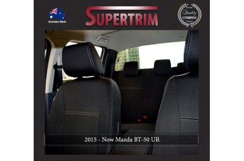 Mazda BT-50 UR (Oct 2015 - Now) FRONT Full-Back Seat Covers with Map Pockets & REAR With Armrest Access Seat Covers, Snug Fit, Premium Neoprene (Automotive-Grade) 100% Waterproof