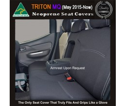 Seat Covers REAR Snug Fit for Triton MQ May 2015 - Now Dual Cab, Premium Neoprene (Automotive-Grade) 100% Waterproof