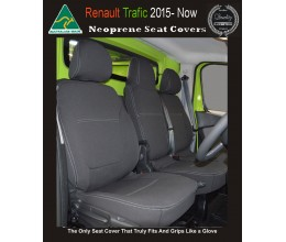 Seat Covers FRONT Bucket & Bench Snug Fit for [Renault Trafic 2016 Crew Van], Premium Neoprene (Automotive-Grade) 100% Waterproof