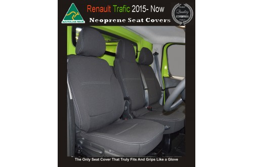 Seat Covers FRONT Bucket & Bench Snug Fit for [Renault Trafic 2015 - Now ], Premium Neoprene (Automotive-Grade) 100% Waterproof Copy