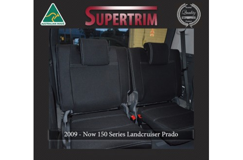 3rd Row Full-Back Seat Covers Snug Fit for Toyota Prado 150 Series (Nov09 - Now), Charcoal black, Waterproof Premium quality Neoprene (Wetsuit), UV Treated
