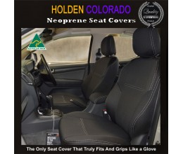 Holden Colorado Isuzu D-max MU-X Snug fit Seat Covers FRONT PAIR + CONSOLE LID COVER (MY18 available) -  Charcoal black,Waterproof Premium quality Neoprene (Wetsuit), UV Treated