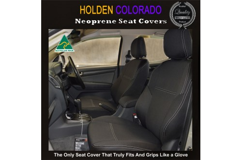 Holden Colorado RG (Apr 12 - Now) Full-back FRONT Seat Covers with Map Pockets, Premium Neoprene (Automotive-Grade) 100% Waterproof