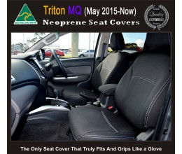 Mitsubishi Triton Snug fit Seat Covers (MY18  available) - FRONT PAIR + CONSOLE LID COVER Charcoal black, Waterproof Premium quality Neoprene (Wetsuit), UV Treated Copy