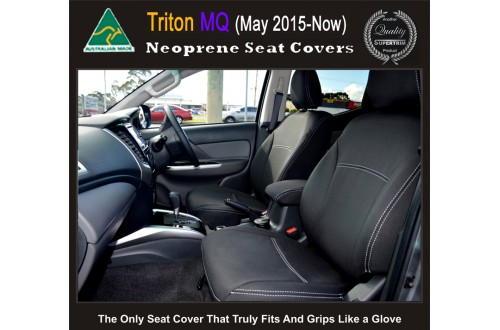 Seat Covers Front 2 Bucket Seats + Console Lid Cover Snug Fit for Triton MQ May 2015-Now , Premium Neoprene (Automotive-Grade) 100% Waterproof