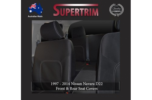 Seat Covers Front Pair Full-back With Map Pockets & Rear Snug Fit For Nissan Navara D40 (Nov 2005 - May 2015), Premium Neoprene (Automotive-Grade) 100% Waterproof