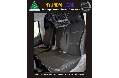 Hyundai iLoad TAILOR-MADE Front Bucket Bench  Seat Covers (NEW: 2017 model available) - 100% Perfect fit, Charcoal black,100% Waterproof Premium quality Neoprene (Wetsuit), UV Treated