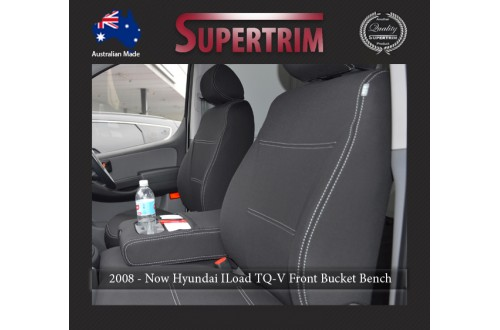 Seat Covers FRONT Bucket Bench With Full-Back & Map Pockets, Snug Fit for Hyundai iLoad TQ-V (Feb 2008 - Now)  , Premium Neoprene (Automotive-Grade) 100% Waterproof