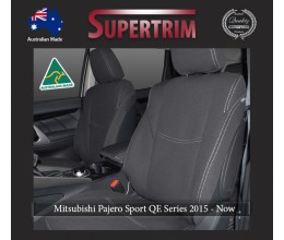 Seat Covers Front Pair Full-Length With Map Pockets & Rear Snug Fit For Mitsubishi Pajero Sport QE (2015 - Now), Premium Neoprene (Automotive-Grade) 100% Waterproof