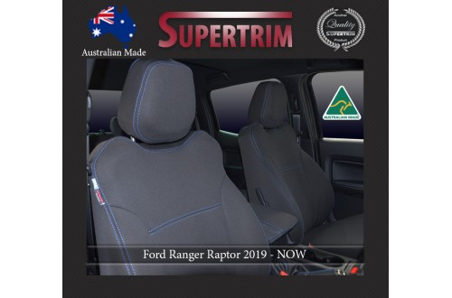 Ford Ranger Raptor (2019-NOW), FRONT Full-Back Seat Covers with Map Pockets, Snug Fit, Premium Neoprene (Automotive-Grade) 100% Waterproof