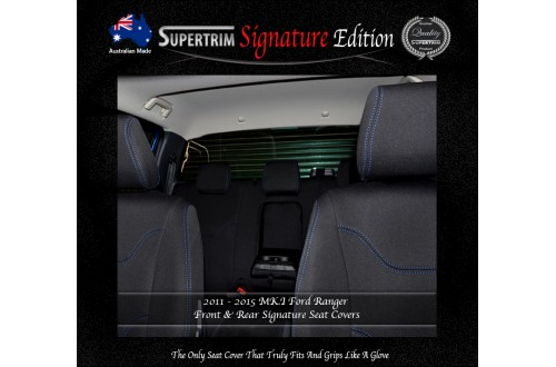 Ford Ranger PX MK.I (July 2011 - Aug 2015) FRONT Full-Back Seat Covers with Map Pockets & REAR Seat Covers, Signature Edition, Snug Fit, Premium Neoprene (Automotive-Grade) 100% Waterproof