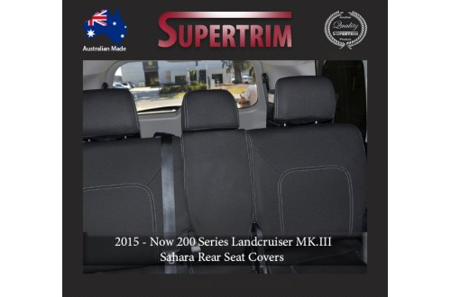 Seat Covers 2ND ROW FULL-BACK Snug Fit For (Oct 2015 - Now) Landcruiser J200 (200 Series) - MK.III Sahara, Premium Neoprene (Automotive-Grade) 100% Waterproof