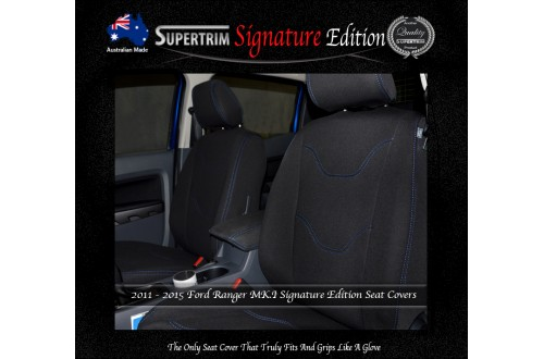Ford Ranger PX MK.I (July 2011 - Aug 2015) FRONT Seat Covers, Signature Edition, Snug Fit, Premium Neoprene (Automotive-Grade) 100% Waterproof