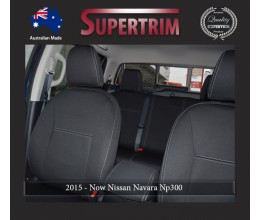 Seat Covers Front Pair Full-back With Map Pockets & Rear Snug Fit for Nissan Navara NP300 May 2015 - Now, Premium Neoprene (Automotive-Grade) 100% Waterproof
