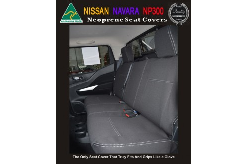 NISSAN NAVARA ST ST-R ST-X RX TAILOR-MADE Rear Seat Covers (NEW: 2017 model available) -  100% Perfect fit, Charcoal black, 100% Waterproof Premium quality Neoprene (Wetsuit), UV Treated
