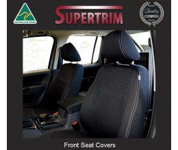 Seat Covers FRONT Full-back + Map Pockets Snug Fit for Volkswagen Amarok Mar 2011 - Now, Premium Neoprene (Automotive-Grade) 100% Waterproof