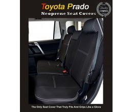 Seat Covers REAR suitable for Toyota Prado 90 / 120 / 150 series TAILOR-MADE Rear (NEW: 2017 model available) -  100% Perfect fit, Charcoal black, 100% Waterproof Premium quality Neoprene (Wetsuit), UV Treated