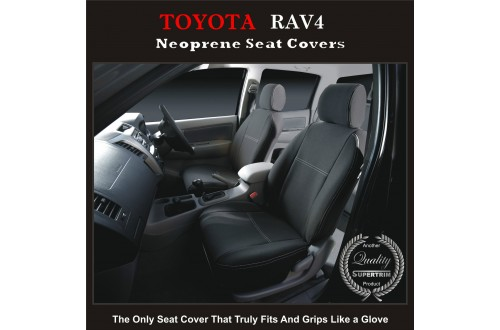 Seat Covers FRONT PAIR suitable for Toyota Rav4 Series – XA20 / XA30 / XA40,  Premium Neoprene (Automotive-Grade) 100% Waterproof