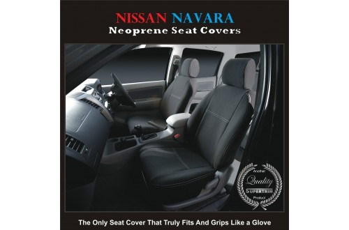 Nissan Navara D22 D40 550 ST STX RX TAILOR-MADE Seat Covers (NEW: 2017 model available) - FRONT PAIR in Full Back + Map Pocket 100% Perfect fit, Charcoal black, 100% Waterproof Premium quality Neoprene (Wetsuit), UV Treated