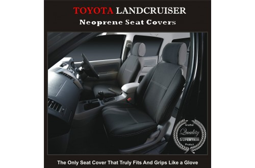 Seat Covers FRONT PAIR suitable for Toyota Landcruiser 100 Series Premium Neoprene Waterproof  100% Fit All Models