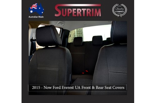 Ford Everest UA (Oct 2015 - Now) FRONT Full-Back with Map Pockets, REAR Full-Back & 3RD ROW Full-Back Seat Covers , Snug Fit, Premium  Neoprene (Automotive-grade) 100% Waterproof