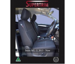 FRONT Seat Covers Full-back with Map Pockets & Rear + Armrest Access Snug Fit for Isuzu MU-X (Nov 2013 - Now), Premium Neoprene (Automotive-Grade) 100% Waterproof