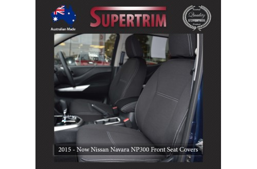 Seat Covers FRONT Seat Covers + Console Lid Cover Snug Fit for Nissan Navara NP300 May 2015 - Now, Premium Neoprene (Automotive-Grade) 100% Waterproof