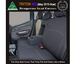 Mitsubishi Triton ML MN TAILOR-MADE Rear Seat Covers (NEW: MQ 2017 model available) -  100% Perfect fit, Charcoal black, 100% Waterproof Premium quality Neoprene (Wetsuit), UV Treated