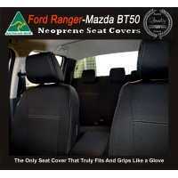 Ford Ranger Snug fit Seat Covers (MY18 available) - FRONT PAIR + CONSOLE LID COVER, Charcoal black, Waterproof Premium quality Neoprene (Wetsuit), UV Treated