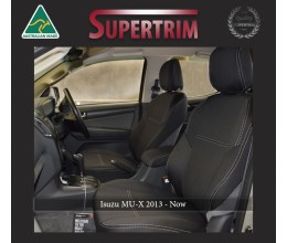 Seat Covers Front pair + Console Lid Cover Snug Fit for Isuzu MU-X (Nov 2013 - Now), Premium Neoprene (Automotive-Grade) 100% Waterproof