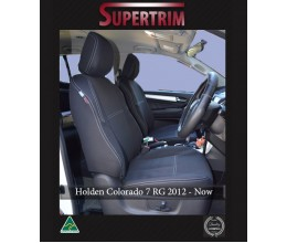 FRONT Seat Covers Full-back with Map Pockets & Rear + Armrest Access Snug Fit for Holden Colorado 7 RG (Dec 2012 - Now), Premium Neoprene (Automotive-Grade) 100% Waterproof