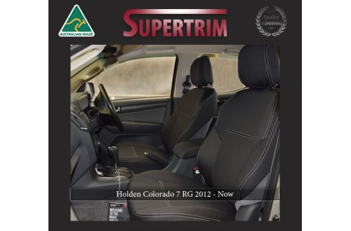 FRONT Seat Covers & REAR with Armrest Access Snug Fit for Holden Colorado 7 RG (Dec 2012 - Now), Premium Neoprene (Automotive-Grade) 100% Waterproof