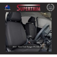 Ford Ranger PX MK.II, III (Sept 2015 - Now) FRONT Seat Covers + CONSOLE LID COVER, Snug Fit, Premium Neoprene (Automotive-Grade) 100% Waterproof