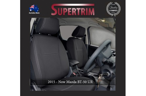 Mazda BT-50 UR (Oct 2015 - Now) FRONT + REAR With Armrest Access Seat Covers, Snug Fit, Premium Neoprene (Automotive-Grade) 100% Waterproof