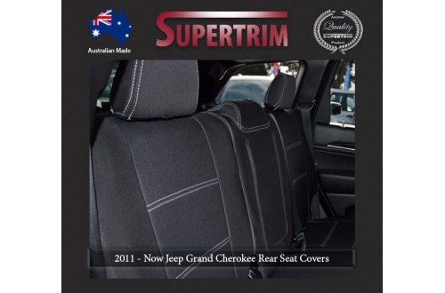 Rear Seat Covers + Armrest Access Snug Fit for Grand Cherokee WK 2011 - Now, Premium Neoprene (Automotive-Grade) 100% Waterproof
