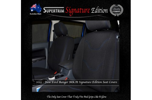 Ford Ranger PX MK.II (Sept 2015 - Now) FRONT Seat Covers, Signature Edition, Snug Fit, Premium Neoprene (Automotive-Grade) 100% Waterproof