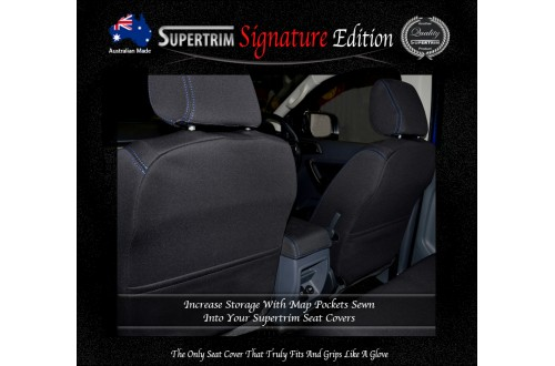 Ford Ranger PX MK.I (July 2011 - Aug 2015) FRONT Seat Covers With Full-Back & Map Pockets, Signature Edition, Snug Fit, Premium Neoprene (Automotive-Grade) 100% Waterproof