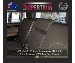 Seat Covers 2ND ROW FULL-BACK Snug Fit For (Nov07 - Sept 15) Landcruiser J200 (200 Series) - Sahara, Altitude & VX, Premium Neoprene (Automotive-Grade) 100% Waterproof