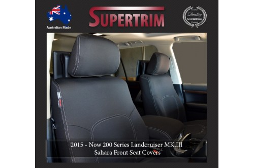 Seat Covers FRONT PAIR + CONSOLE LID COVER Snug Fit For (Oct 2015 - Now) Landcruiser J200 (200 Series) - MK.III Sahara, Premium Neoprene (Automotive-Grade) 100% Waterproof