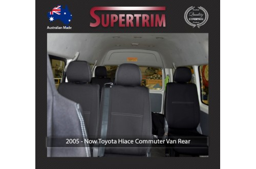 Seat Covers REAR 12 SEATS FULL BACK Snug Fit for Toyota Hiace (Mar 2005 - Now) H200 MK.5 (Commuter Bus 14 Seater) Premium Neoprene (Automotive-Grade) 100% Waterproof