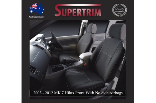 Seat Covers Front 2 Buckets With No Side Airbags Full-back With Map Pockets & Rear Snug Fit for Hilux MK.7 April 2005 - July 2011, Premium Neoprene (Automotive-Grade) 100% Waterproof