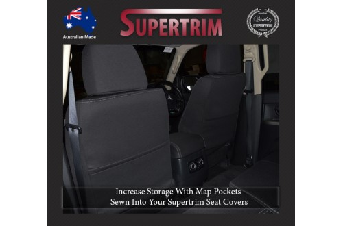Seat Covers FRONT Pair With Full Back & Map Pockets Snug Fit For Mitsubishi Pajero (1999 - 2006), Premium Neoprene (Automotive-Grade) 100% Waterproof