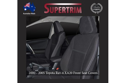 Seat Covers FRONT Pair + CONSOLE Lid Cover Snug Fit For Toyota Rav4 XA20 (2000 - 2005), Premium Neoprene (Automotive-Grade) 100% Waterproof