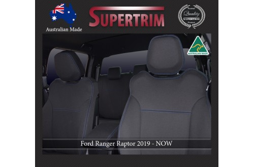 Ford Ranger Raptor (2019-NOW), FRONT + REAR Seat Covers, Snug Fit, Premium Neoprene (Automotive-Grade) 100% Waterproof