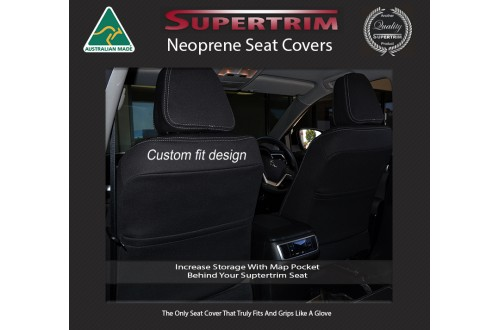 Seat Covers FRONT Pair With Full-Length & Map Pockets Snug Fit For Hyundai Santa Fe TM Series (2018 - Now), Premium Neoprene (Automotive-Grade) 100% Waterproof