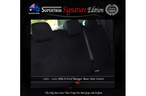 Ford Ranger PX MK.I (July 2011 - Aug 2015) REAR Dual Cab Seat Covers, Signature Edition, Snug Fit, Premium Neoprene (Automotive-Grade) 100% Waterproof