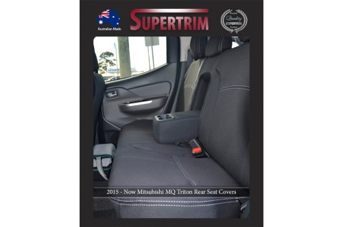 Seat Covers REAR + Armrest Access Snug Fit for Triton MQ (May 2015 - Now) Dual Cab, Premium Neoprene (Automotive-Grade) 100% Waterproof